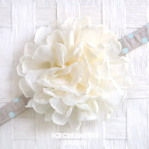 Giant Cream Bloom Collar Slide On - Large Flower Collar Accessory
