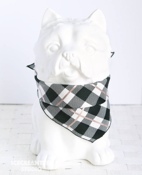 Metallic Rose Gold Plaid Bandana - Tie on Classic Pet Bandana Scarf
