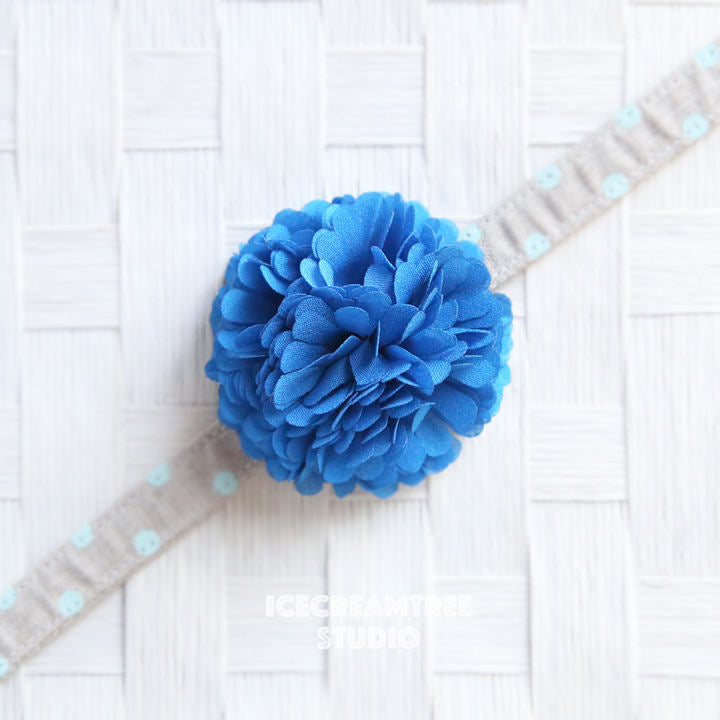 PomPom Mid Blue Bloom Collar Slide On - Small Flower Collar Accessory