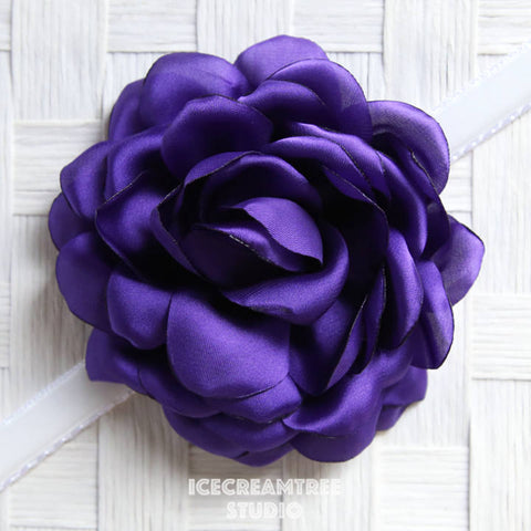 Satin Purple Bloom Collar Slide On - Large Flower Collar Accessory