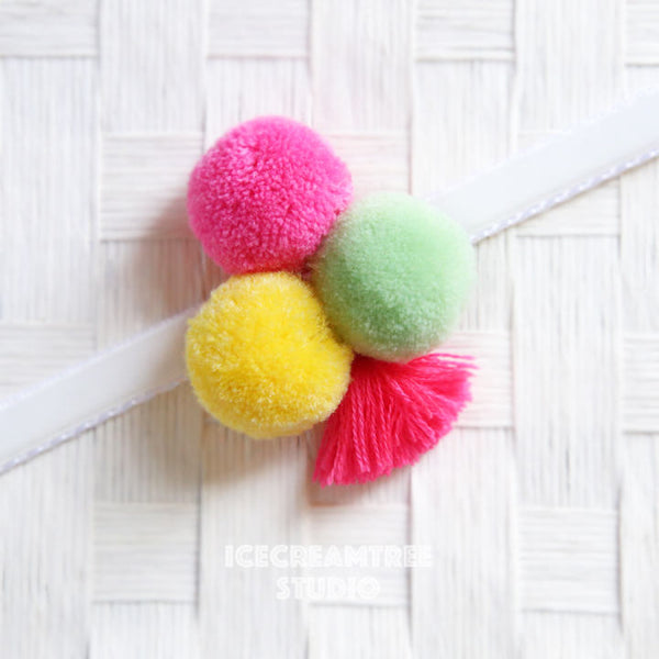 Big Candy Pom Pom with Tassel - Pom Pom Collar Accessory