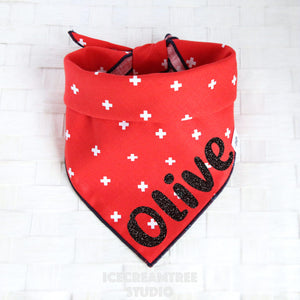 Red Swiss Cross Bandana - Tie on Classic Pet Bandana Scarf