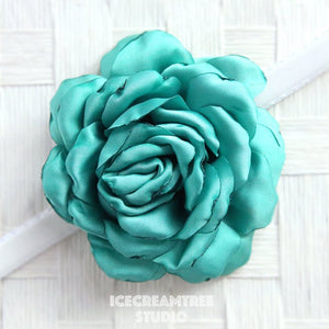 Satin Turquoise Bloom Collar Slide On - Large Flower Collar Accessory