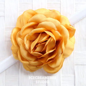 Satin Golden Yellow Bloom Collar Slide On - Large Flower Collar Accessory