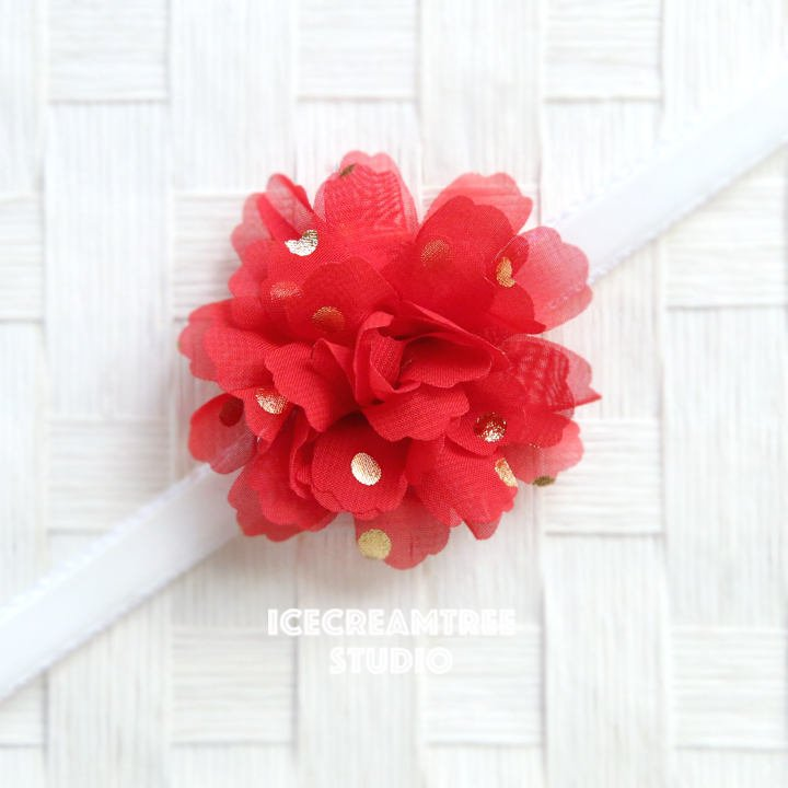 Little Red Gold Dot Bloom Collar Slide On - Small Flower Collar Accessory