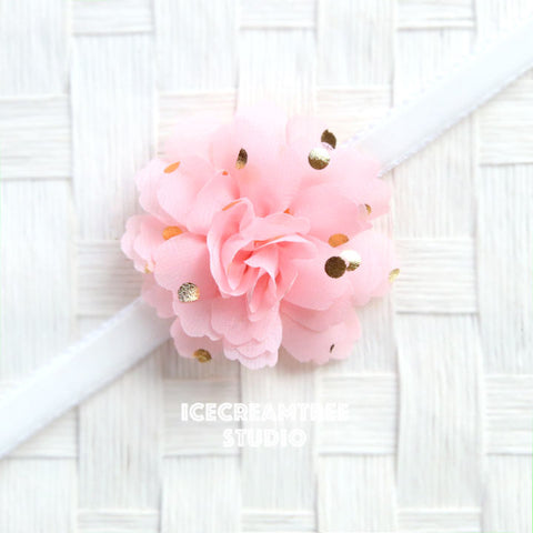 Little Soft Pink Gold Dot Bloom Collar Slide On - Small Flower Collar Accessory