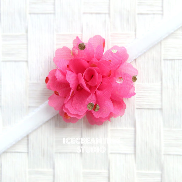 Little Hot Pink Gold Dot Bloom Collar Slide On - Small Flower Collar Accessory
