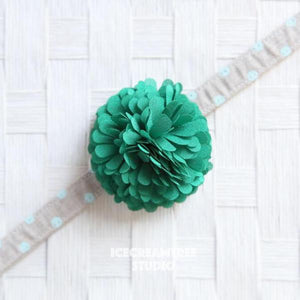 PomPom Green Bloom Collar Slide On - Small Flower Collar Accessory