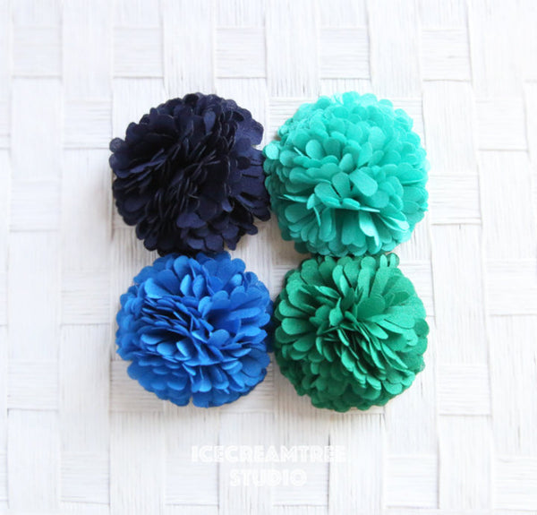 PomPom Turquoise Bloom Collar Slide On - Small Flower Collar Accessory
