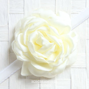 Satin Cream Bloom Collar Slide On - Large Flower Collar Accessory