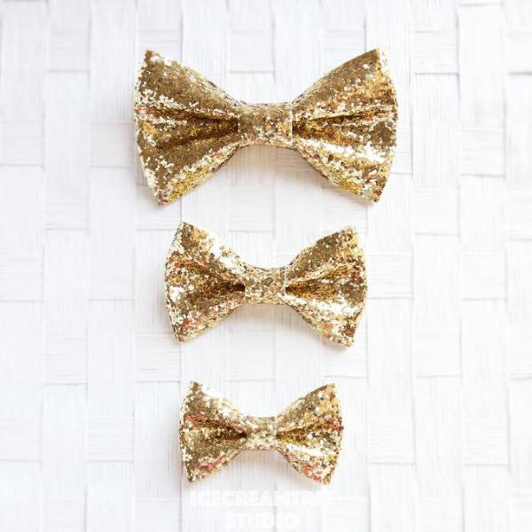 Sparkle Glitter Gold Bow - Collar Slide on Bow