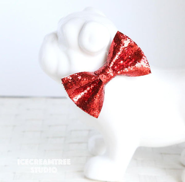 Sparkle Glitter Red Bow Tie - Pet Bow Tie