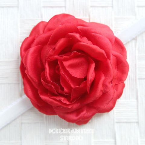 Satin Red Bloom Collar Slide On - Large Flower Collar Accessory