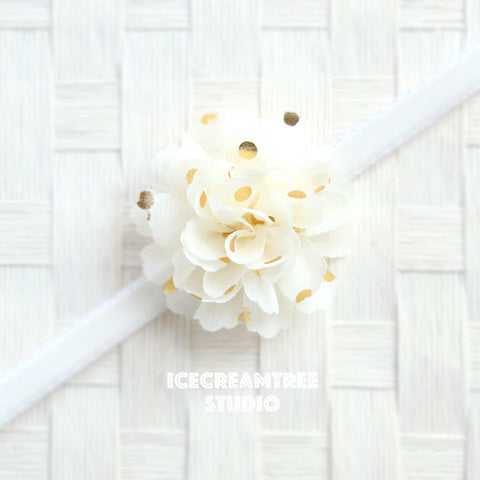 Little Cream Gold Dot Bloom Collar Slide On - Small Flower Collar Accessory