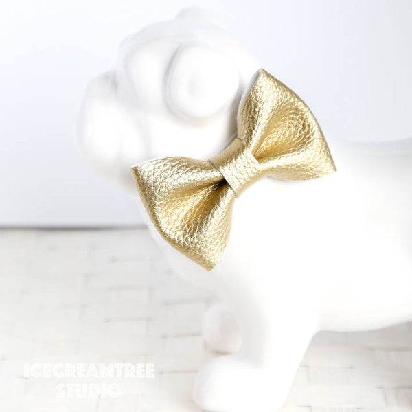Faux Leather Metallic Gold Bow - Collar Slide on Bow