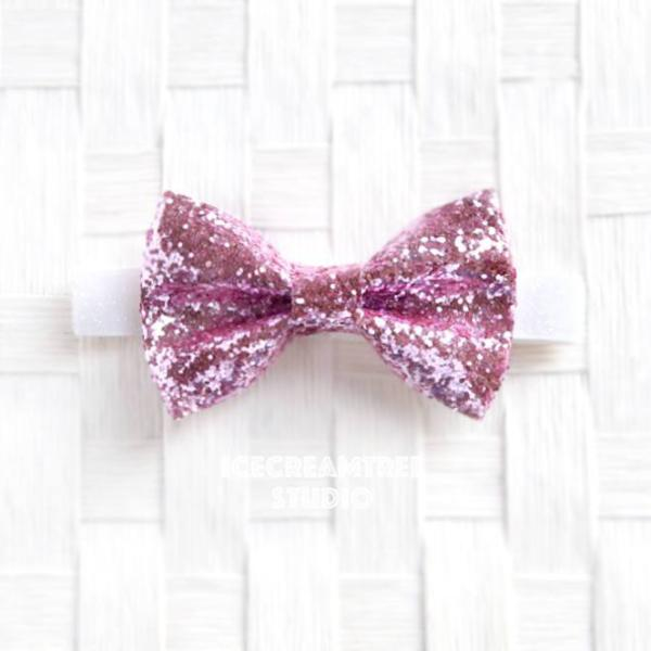 Sparkle Glitter Baby Pink Bow Tie - Pet Bow Tie