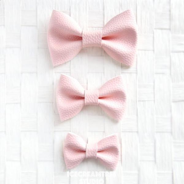 Faux Leather Pink Bow - Collar Slide on Bow