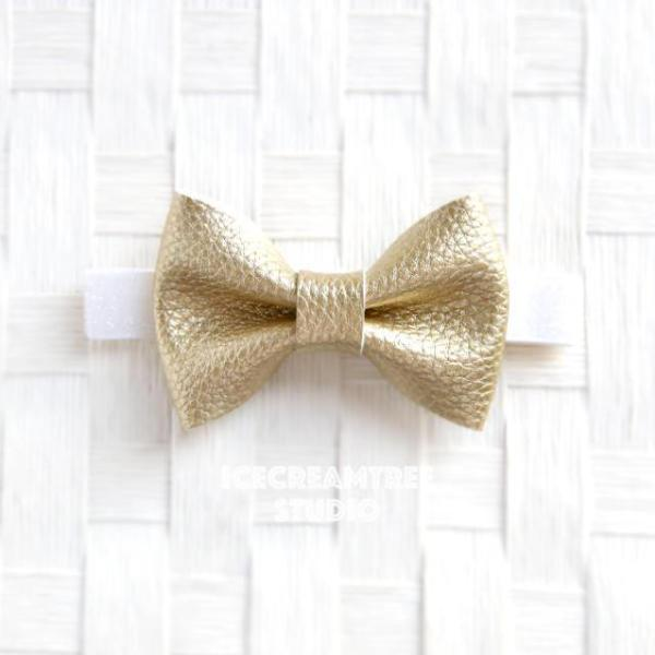 Faux Leather Metallic Gold Bow Tie - Pet Bow Tie