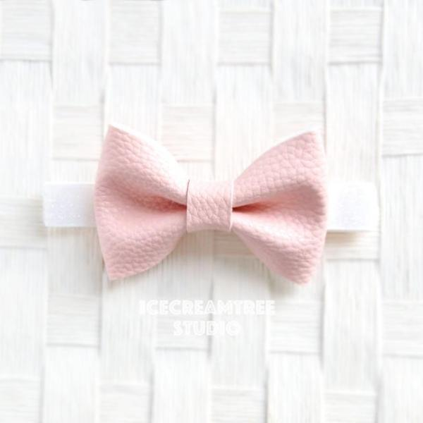 Faux Leather Pink Bow Tie - Pet Bow Tie