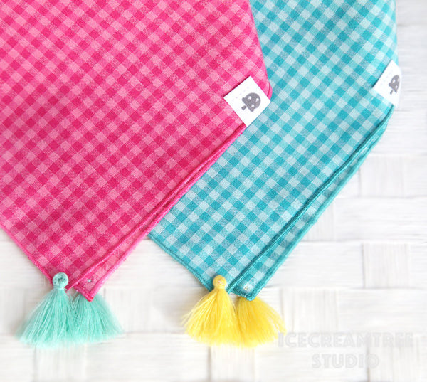 Check Magenta Pink Bandana with Tassels - Tie on Organic Cotton Classic Pet Bandana Scarf