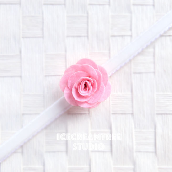 Round Felt Light Pink Flower Collar Slide On - Small Flower Collar Accessory