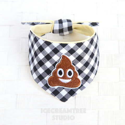 Black Gingham Check Lil' Pooper Bandana - Tie on Modern Pet Bandana Scarf