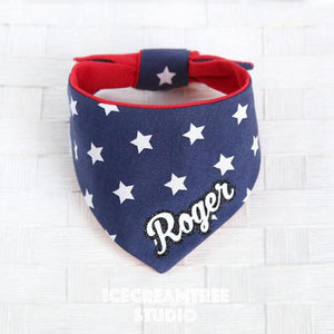 Navy Star Bandana - Tie on Modern Pet Bandana Scarf