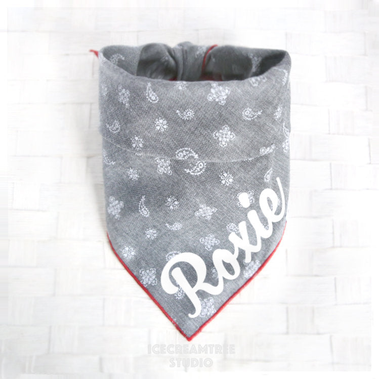 Chambray Black Paisley Bandana - Tie on Chambray Classic Pet Bandana Scarf