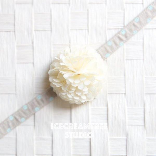PomPom Cream Bloom Collar Slide On - Small Flower Collar Accessory