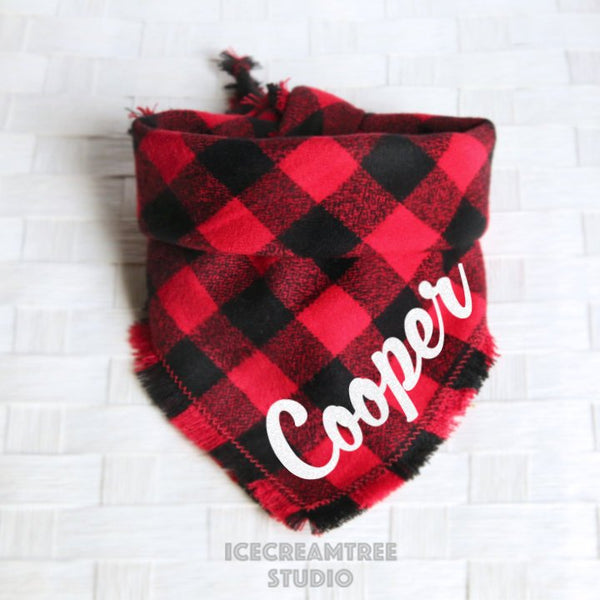 Black Red Buffalo Plaid Bandana - Tie on Classic Flannel Pet Bandana Scarf