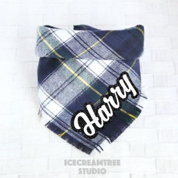 Navy Preppy Plaid Bandana - Tie on Classic Flannel Pet Bandana Scarf