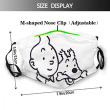 Load image into Gallery viewer, Tintin & Snowy (White) - Reusable Washable Breathable Adjustable Face Mask (With Filters)