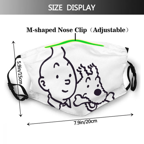 Tintin & Snowy (White) - Reusable Washable Breathable Adjustable Face Mask (With Filters)