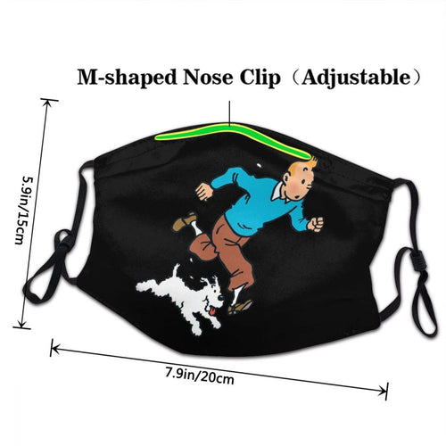 Tintin & Snowy Running - Reusable Washable Breathable Adjustable Face Mask