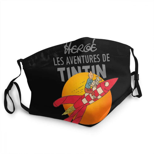 Hergé Les Aventures De Tintin (Black) - Reusable Washable Breathable Adjustable Face Mask