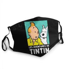 Load image into Gallery viewer, Les Aventures de Tintin (Black) - Reusable Washable Breathable Adjustable Face Mask