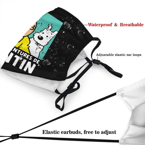 Les Aventures de Tintin (Black) - Reusable Washable Breathable Adjustable Face Mask
