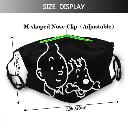 Tintin & Snowy (Black) - Reusable Washable Breathable Adjustable Face Mask (With Filters)