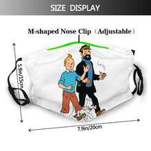 Load image into Gallery viewer, Tintin Snowy Haddock - Reusable Washable Breathable Adjustable Face Mask (With Filters)