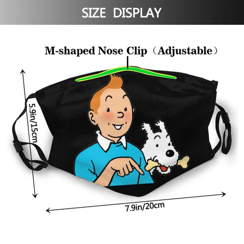 Tintin & Snowy - Reusable Washable Breathable Adjustable Face Mask (With Filters)