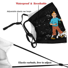 Load image into Gallery viewer, Tintin Snowy & Haddock Walking (Black) - Reusable Washable Breathable Adjustable Face Mask (With Filters)
