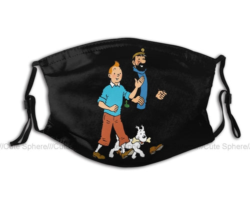 Tintin Snowy & Haddock Walking (Black) - Reusable Washable Breathable Adjustable Face Mask (With Filters)