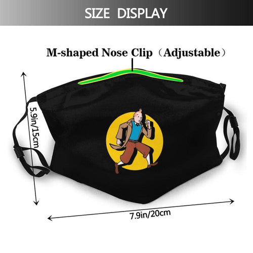 Tintin Spotlight - Reusable Washable Breathable Adjustable Face Mask (With Filters)