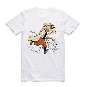 Tintin and Snowy Running - Soft Cotton Tee