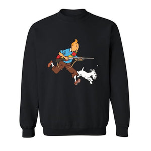 Tintin And Snowy With A Rifle - Soft Long Sleeve Sweatshirt