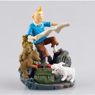 Stunning Tintin & Snowy Preparing For Adventure Collectible