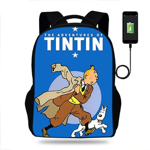 The Adventures of Tintin Unisex USB Charger Backpack