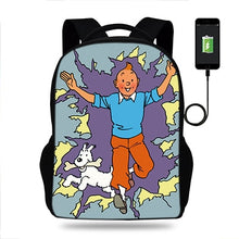 Load image into Gallery viewer, Tintin & Snowy Unisex USB Charger Backpack
