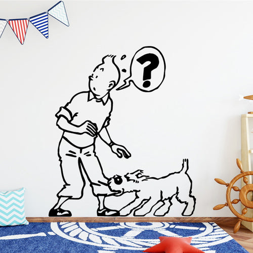 Tintin & Snowy Funny - Easy Peel and Stick Wall Sticker