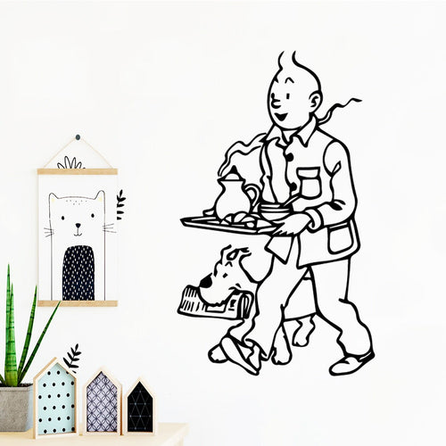 Tintin & Snowy Breakfast - Easy Peel and Stick Wall Sticker